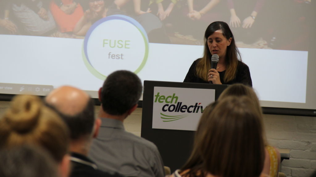 Dana Borrelli-Murray, Executive Director of Highlander Institute, speaks at Fuse Fest, June 2016, Tech Collective