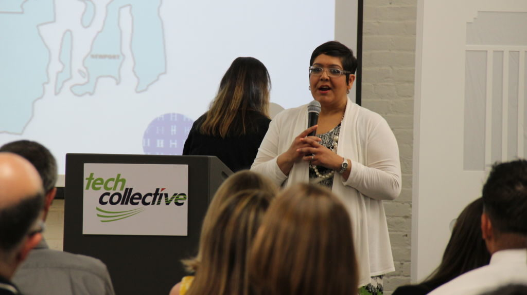 Adriana Dawson, Assistant Dean, Center for Workforce & Professional Development at Roger Williams University speaks at Fuse Fest, June 2016, Tech Collective