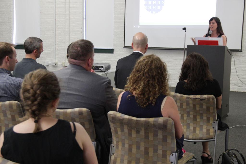 Dana Borrelli-Murray, Executive Director of Highlander Institute, speaks at Fuse Fest, June 2017, Tech Collective