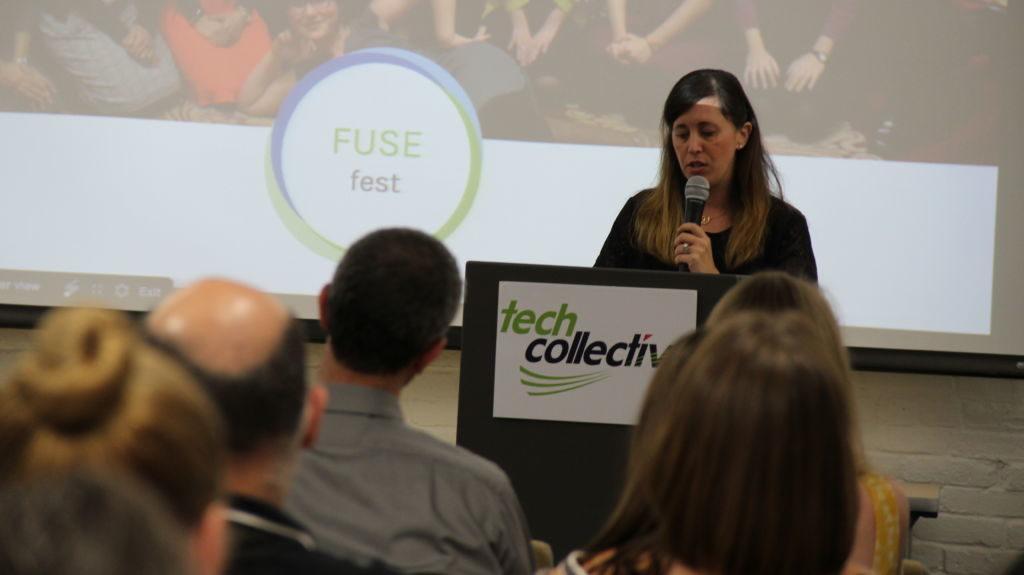 Dana Borrelli-Murray, Executive Director of Highlander Institute, speaks at Fuse Fest, June 2016, Tech Collective